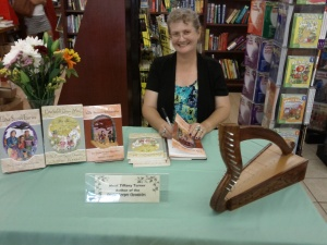 Tiffany Turner signing her third book, The Lost Secret of Dragonfire, at Booksmart in Morgan Hill, CA.