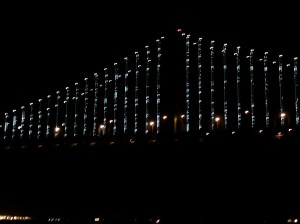 Bay Bridge LED Light Sculpture Close Up