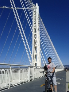 On the new Bay Bridge span at the tour on the new biking trail.
